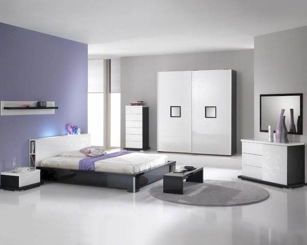 Modern High Gloss Finish Queen Bedroom Set Made in Italy 6B6
