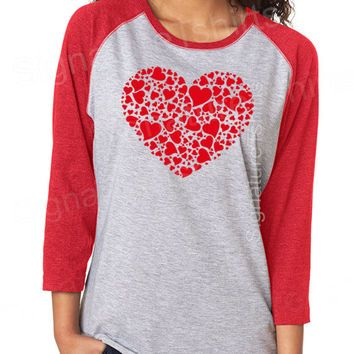 Valentines Day Gift Shirt Womens T Shirt Red Heart Vintage Baseball Raglan  Sleeve Tshirt Funny Wife Gift Graphic Tee Shirt Wedding Gift