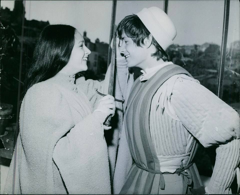 Olivia hussey and leonard whiting during production of