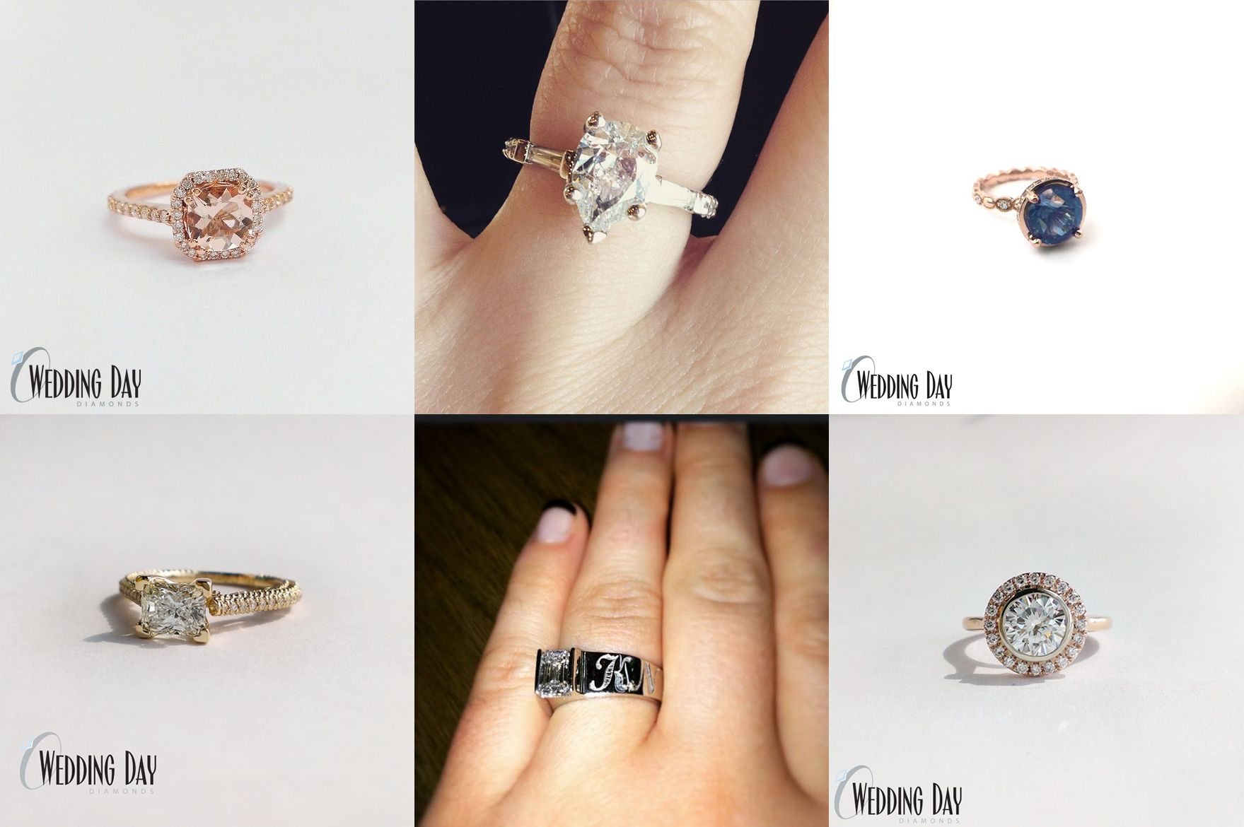 Custom Design Engagement Ring Wedding day diamonds
