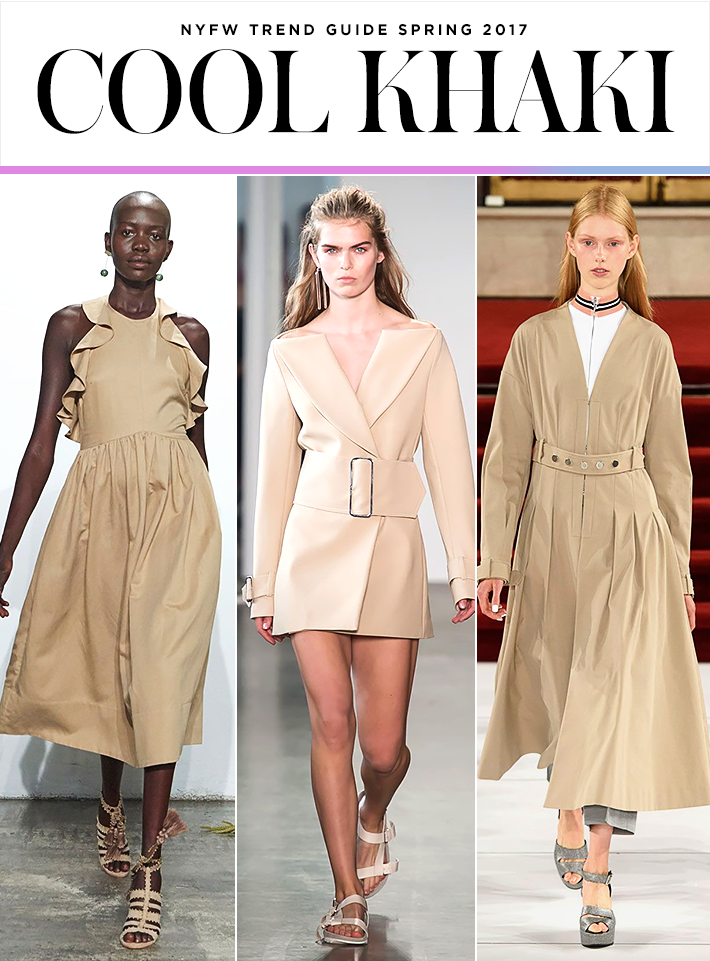Top 10 Trends from NYFW Spring 2017 | Khaki | Ulla Johnson; Dion Lee; Creatures of the Wind | Fashion Week SS17