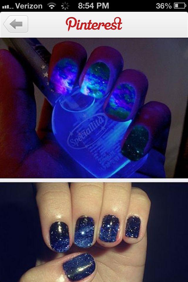 Night sky nail design. Love this. | Nail Art | Pinterest | Sky nails