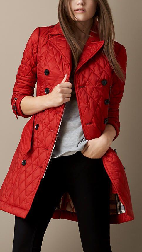 Mid Length Diamond Quilt Trench Coat Burberry Clothes Coat Clothes Design