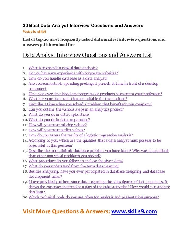 20 Best Data Analyst Interview Questions and Answers Posted by - interview questions and answers