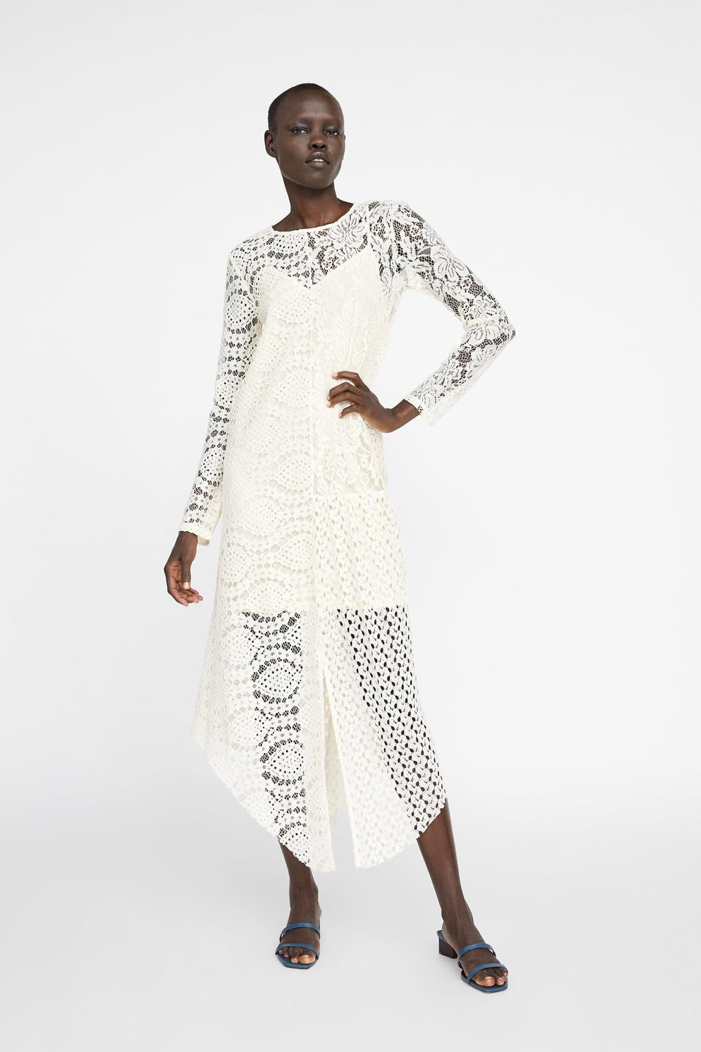 1a9235fc ASYMMETRIC GUIPURE LACE DRESS - Midi-DRESSES-WOMAN | ZARA United States