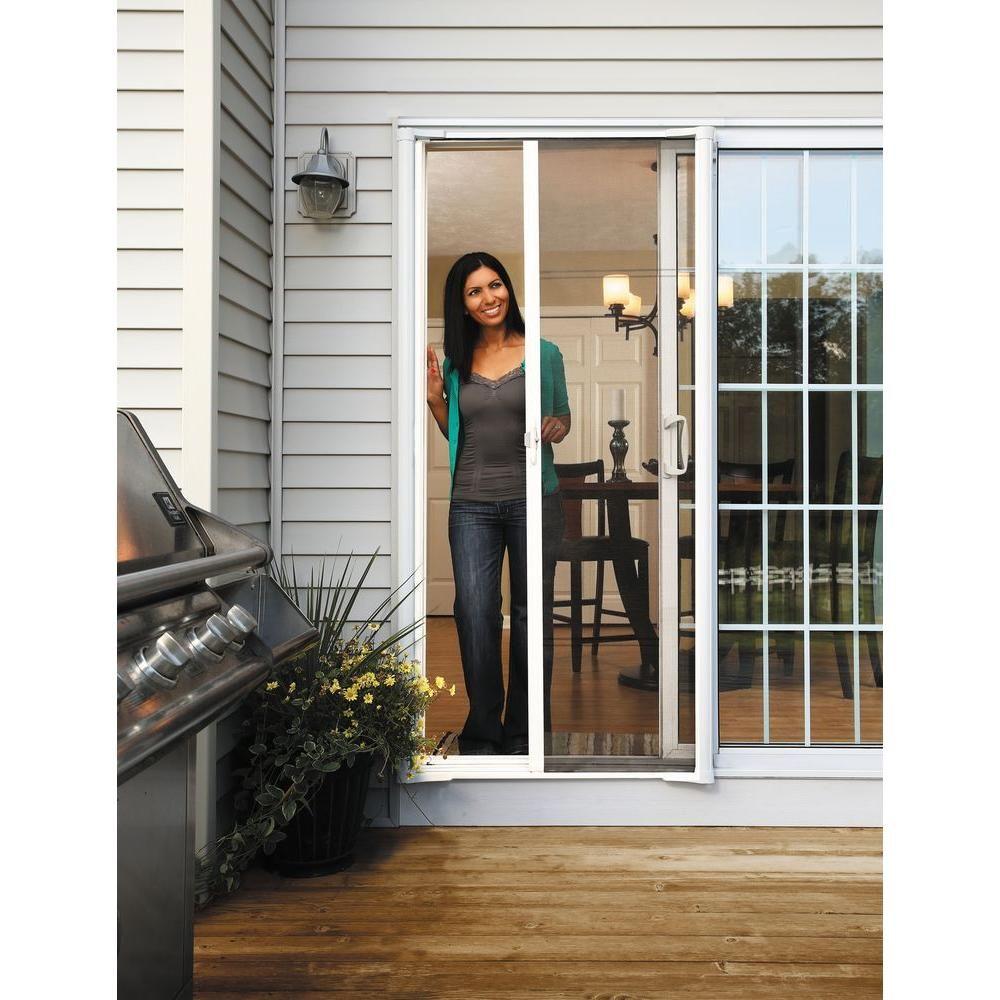 78 In Brisa White Retractable Screen Door For Sliding Door