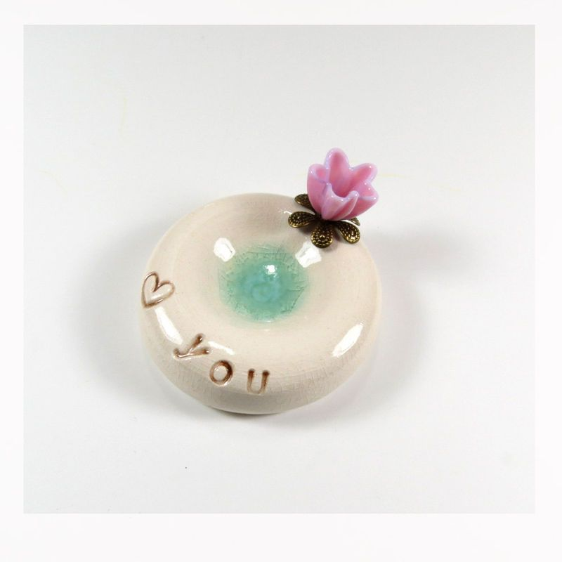 Blush pink flower 'Love you' wedding ring holder