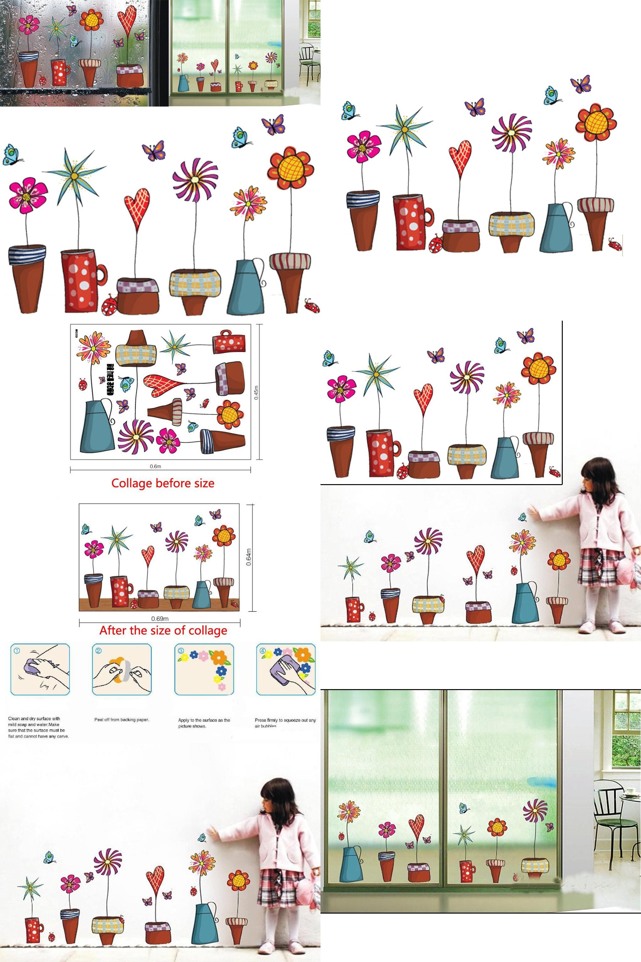 Window decor stickers  visit to buy cute cartoon flower butterfly wall stickers diy decal