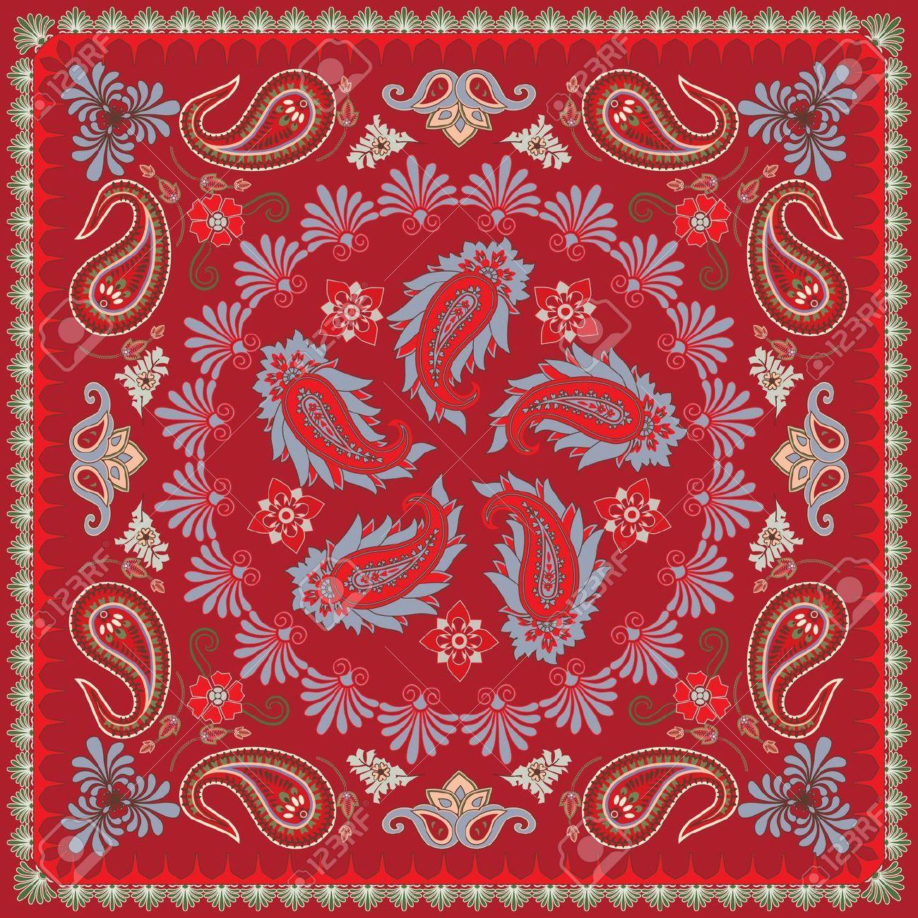 Traditional Paisley Bandana Design Royalty Free Cliparts, Vectors ...