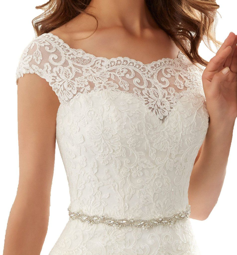 Firose Simple Long A Line Cap Sleeve Train Lace Wedding