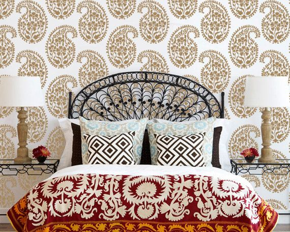 Indian Paisley Wall Stencil for Ethnic Wallpaper Look on Walls or Fabric Stenciling. Perfect for DIY Wall Decor