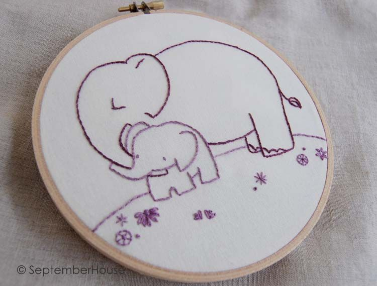 baby elephant hand embroidery pattern crafts