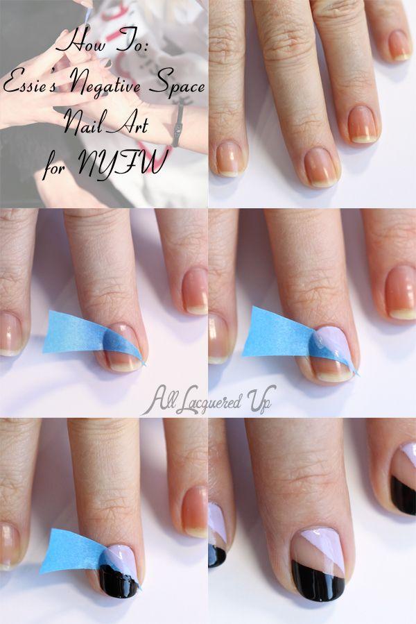 Nail Art Tutorial - Essie Negative Space Nail Art from NYFW ...