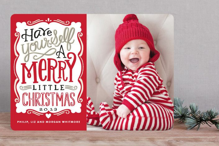 Christmas photo card Red Christmas photo card Merry Typography by Alethea and Ruth at minted.com