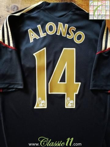 34cbb77e9 Official Adidas Liverpool away football shirt from the 2009 2010 season.  Complete with Alonso  14 on the back of the shirt in Premier League  lettering.