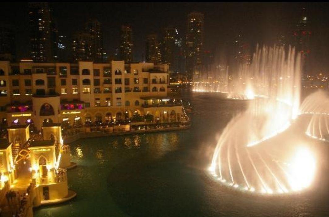 Dubai Fountain night   Dubai mall, Dubai, Areas