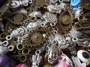 Buddha Hamsa Hand Evil Eye Good Luck Beads Charms Mixed Grab Bag 50 Hippie Boho   eBay