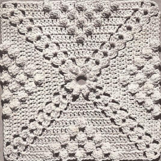 Vintage Crochet Pattern To Make Popcorn Cluster Design Motif Block