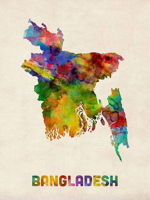 Bangladesh Watercolor Map By Michael Tompsett Watercolor Map