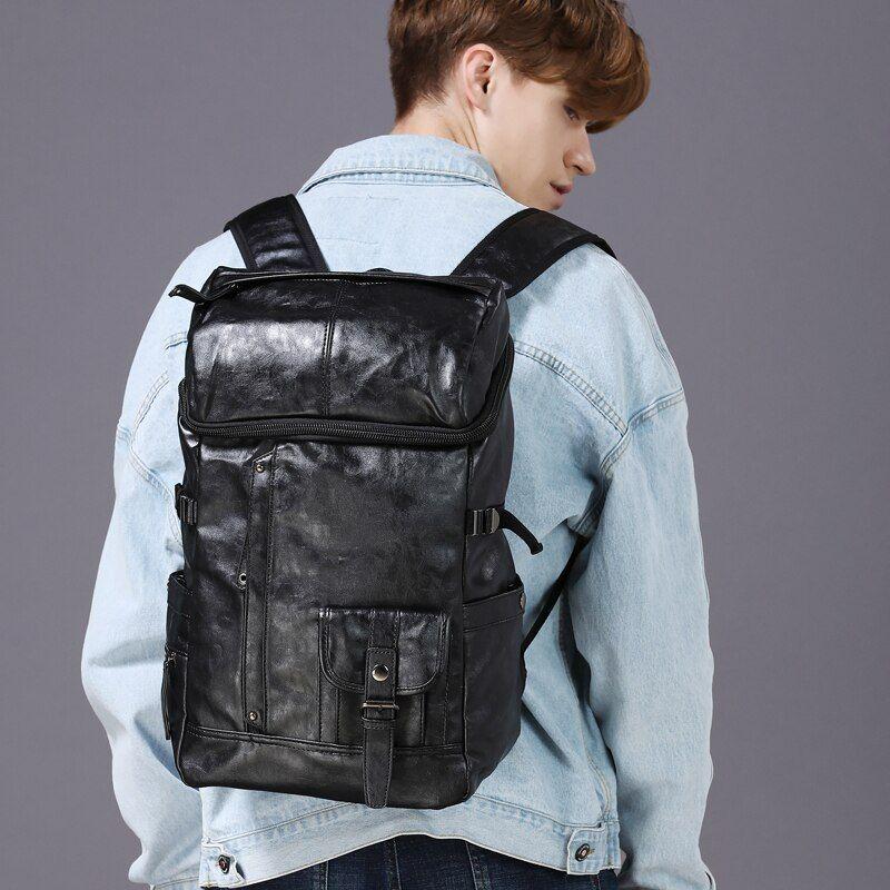 Photo of Men PU Leather Backpack Teenager Backpacks Korean Japan Style School Laptop Bags Women Shoulder Relaxation XA83WC