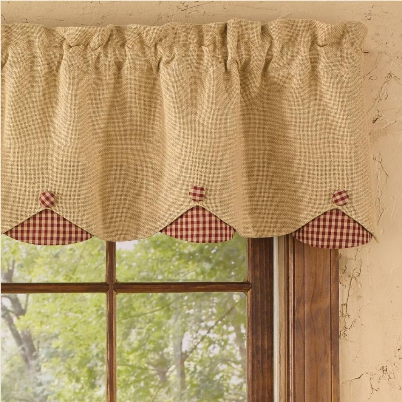 Ntry Scalloped Valance Curtains With Images Burlap Valance