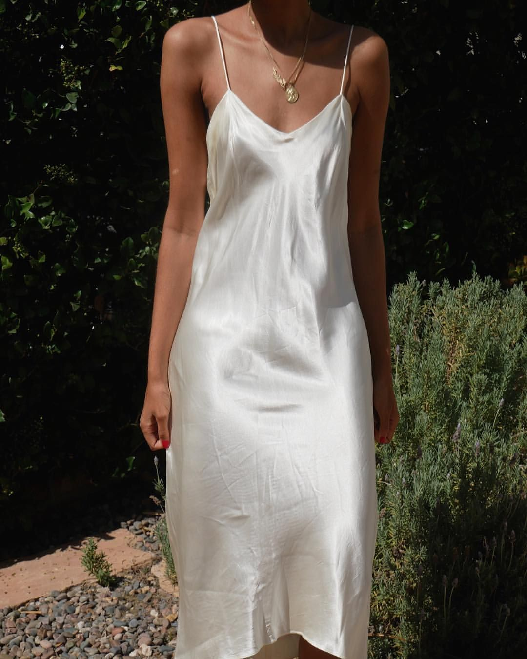 The Perfect Fall Layering Piece Paired With A Chunky Sweater Or Worn Alone Cream Silk Feel Slip Dress Size Medium Looks Grea White Slip Dress Fashion Style [ 1350 x 1080 Pixel ]