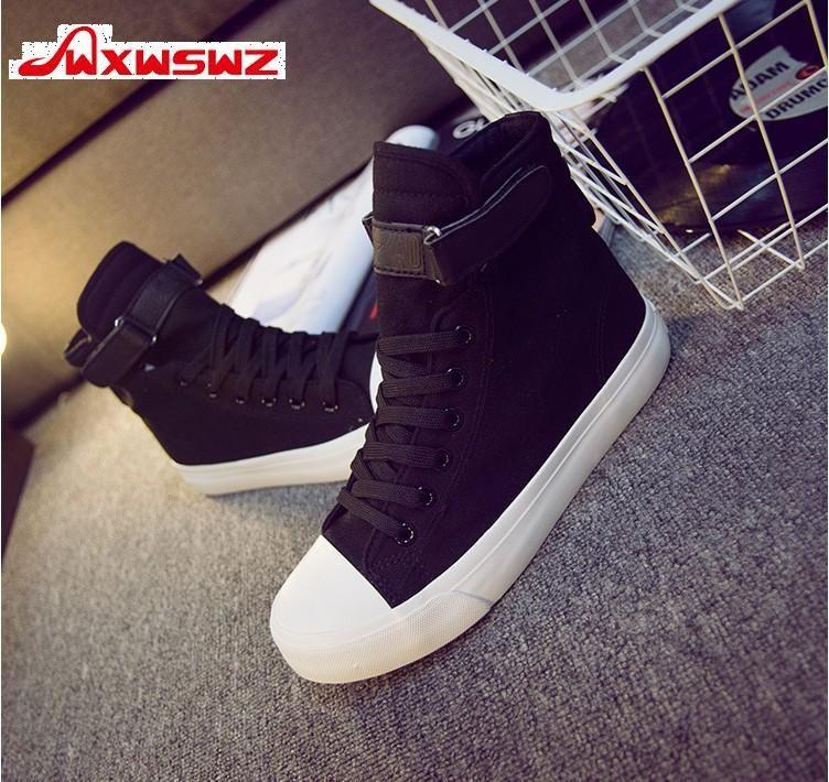 3b481cb3 Купить товар Wxwswz модные высокие кроссовки парусиновая обувь женская  повседневная обувь белый плоский женский корзина Кружево