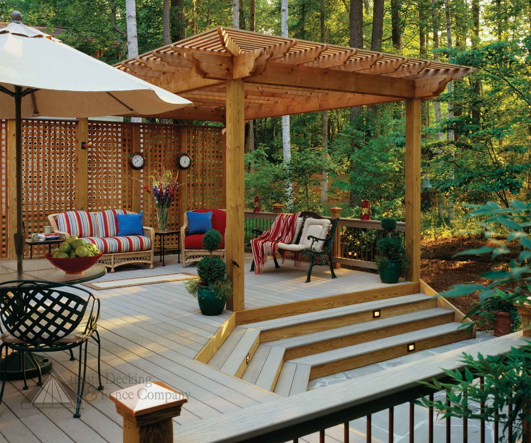 Pictures Of Composite Deck With Arbor And Privacy Screen From
