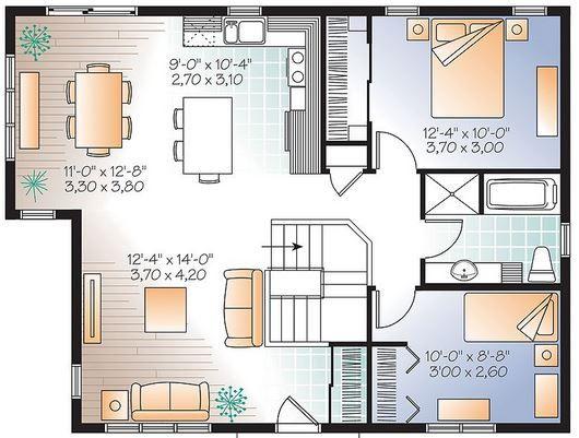 Plano de casa tradicional de 1 planta con 2 dormitorios 2 - Planos de casas de 2 plantas ...