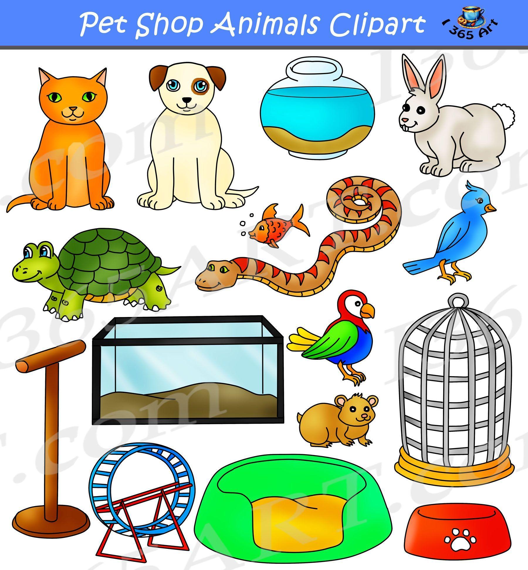 Pet Shop Animals Clipart Digital Graphics Set Graphics By Clipart 4 School Https Clipart4school Com Product Pet Shop Anim Pet Shop Animal Clipart Pets