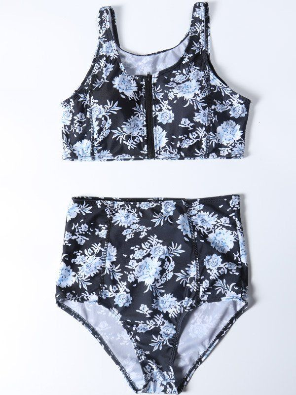 7323208380014 Retro Digital Printing High-waisted Tank Bikini Sets | Just Keep ...