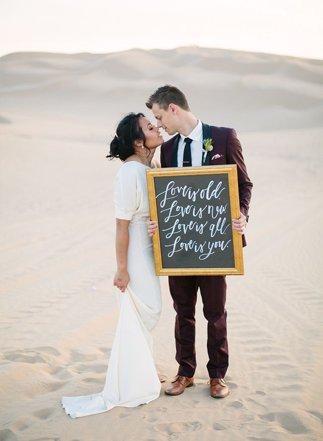 Beatles quote, wedding sign, desert dunes wedding // Inspired by This