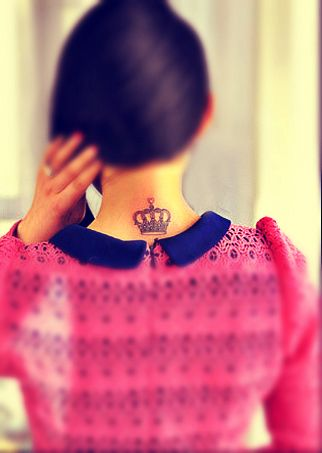 Crown tattoo design behind the neck. I really want this but not behind my neck. Somewhere i can hide it