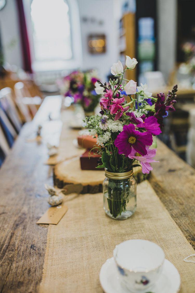 Quaint floral antique finds rustic wedding centerpieces wedding jar flowers wild table centrepiece hessian quaint floral antique rustic wedding httpwww junglespirit Choice Image
