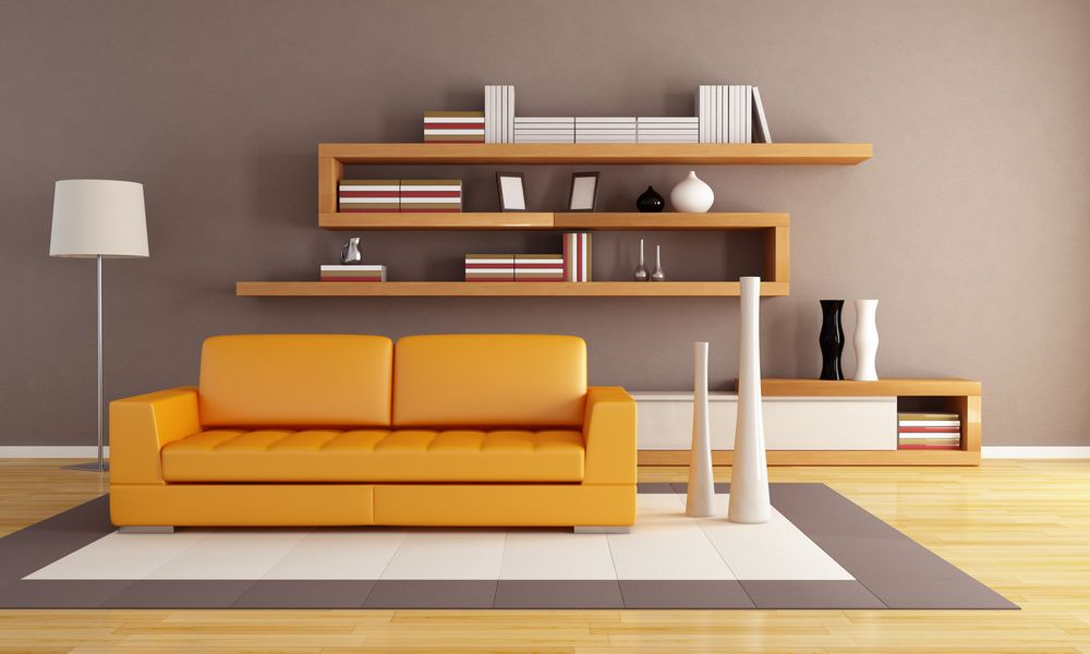 living room floating shelves design
