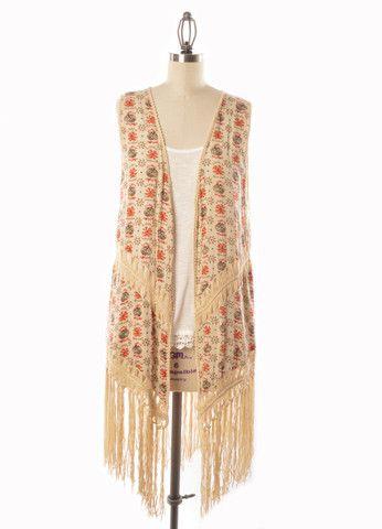 Boho Crochet & Fringe Vest (Red Multi) – DejaVu #fashion #fringe #fall #summer #vest #kimono
