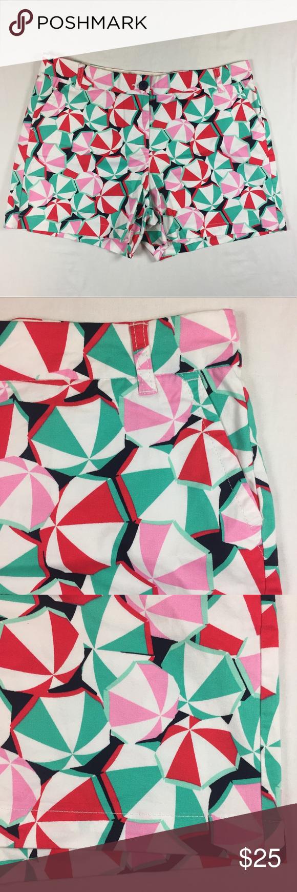 Crown & Ivy pink red beach umbrella shorts 12 Red beach
