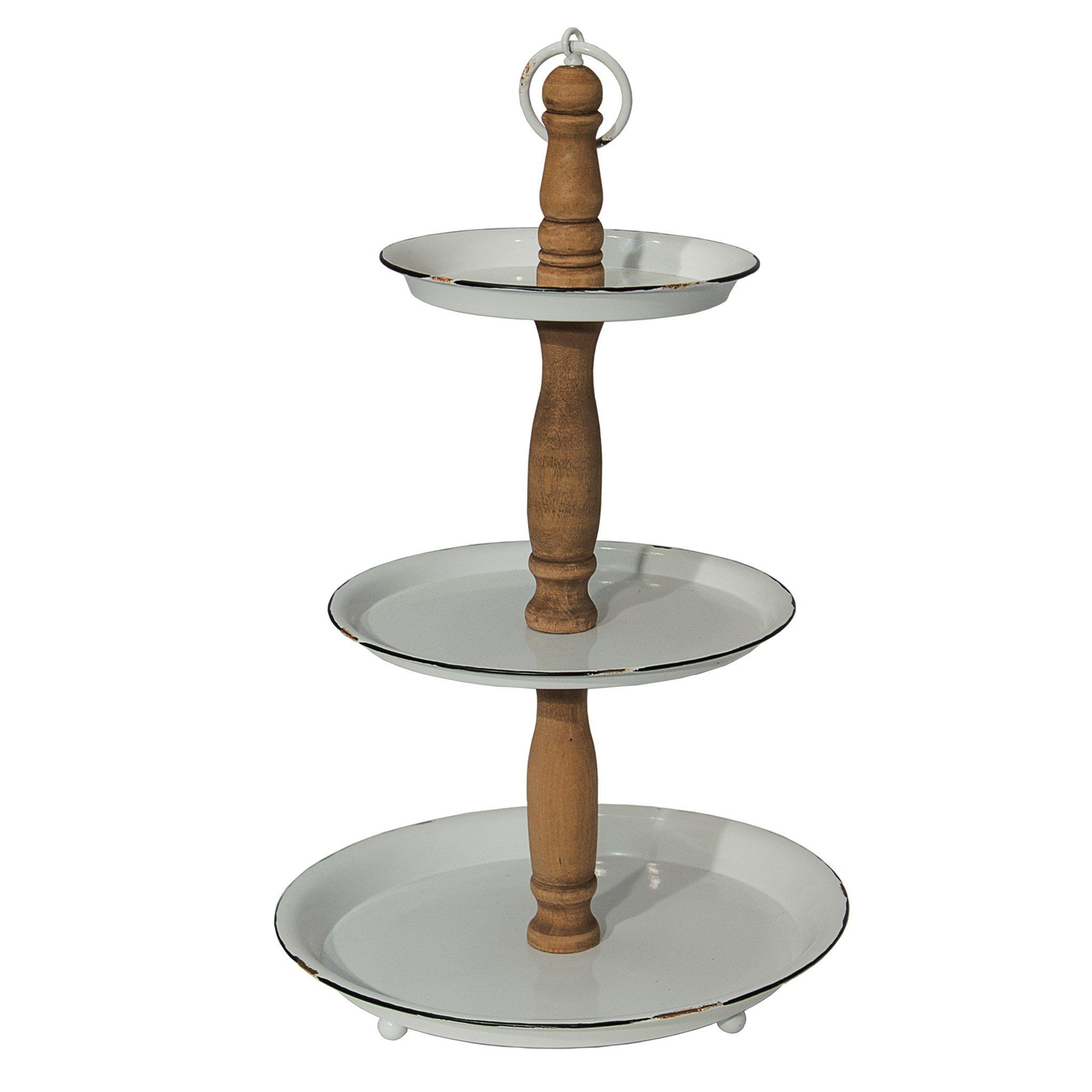This Vintage Style Enamel And Wood 3 Tier Tray Represents The Ideal Marriage Of Wood And Metal The Perfectly Imperfect Tiered Server Tiered Stand Tiered Tray