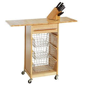Kitchen Cart With Wire Baskets For Veggie Fruit Storage