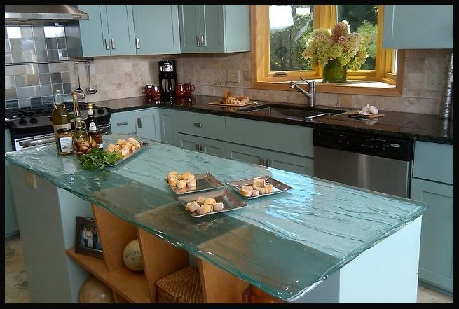 Bio Glass In A Wavy Clear Countertop Cost Of Kitchen Countertops