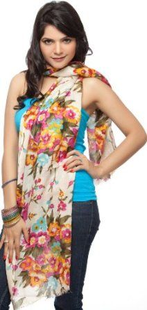 Exotic India Ivory Stole with Multi-Colored Printed Flowers - Ivory Exotic India. $40.00