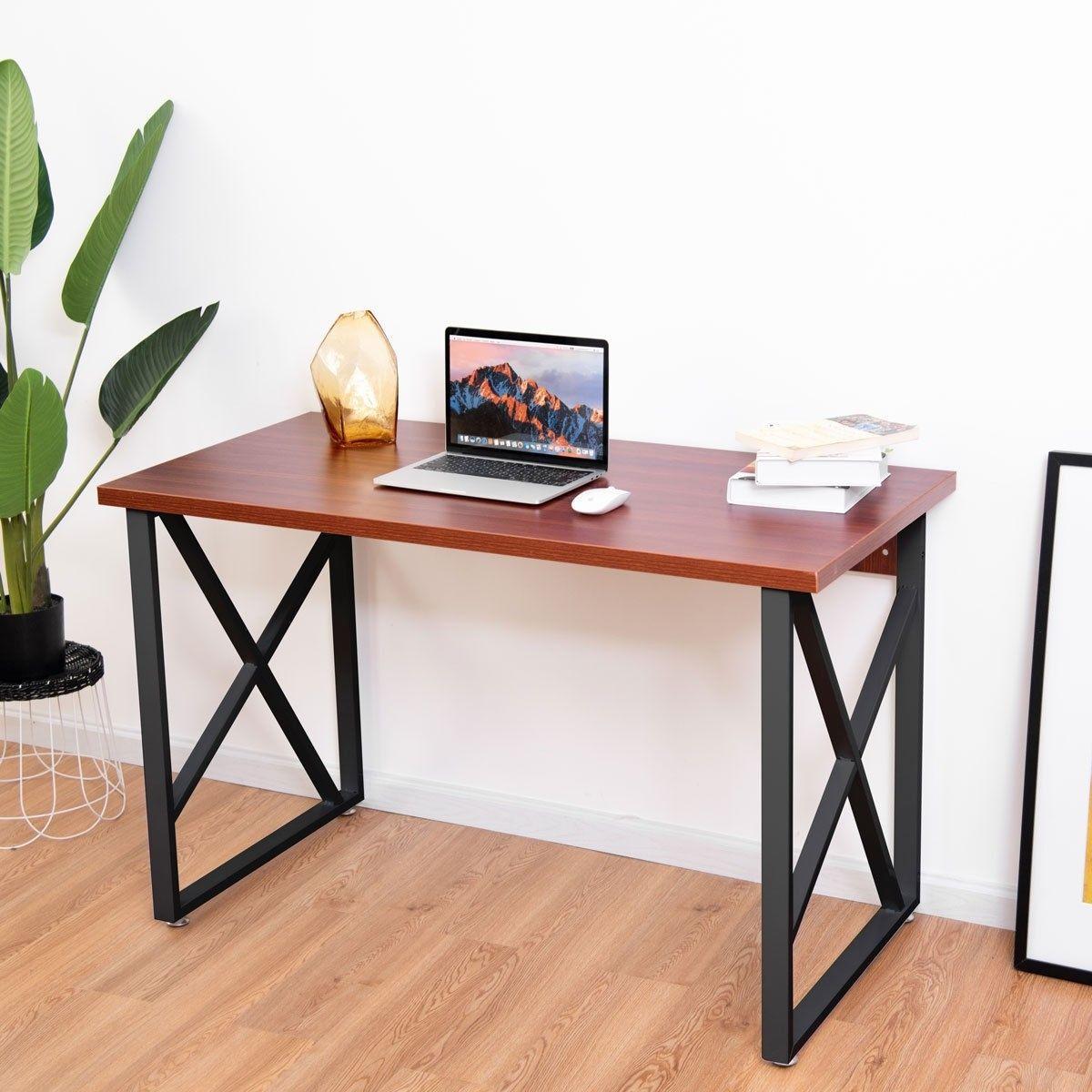 Wooden Pc Laptop Table With Metal Legs Escritorios