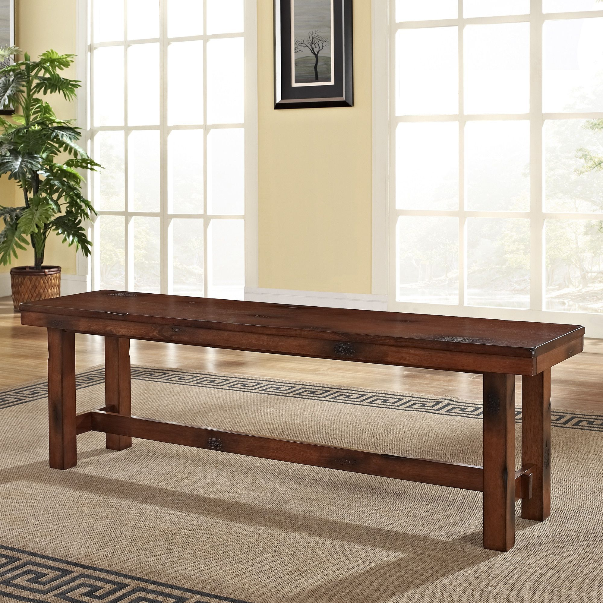 Rustic Dark Oak 60 Inch Trestle Base Dining Bench 60 X 14 X 18h