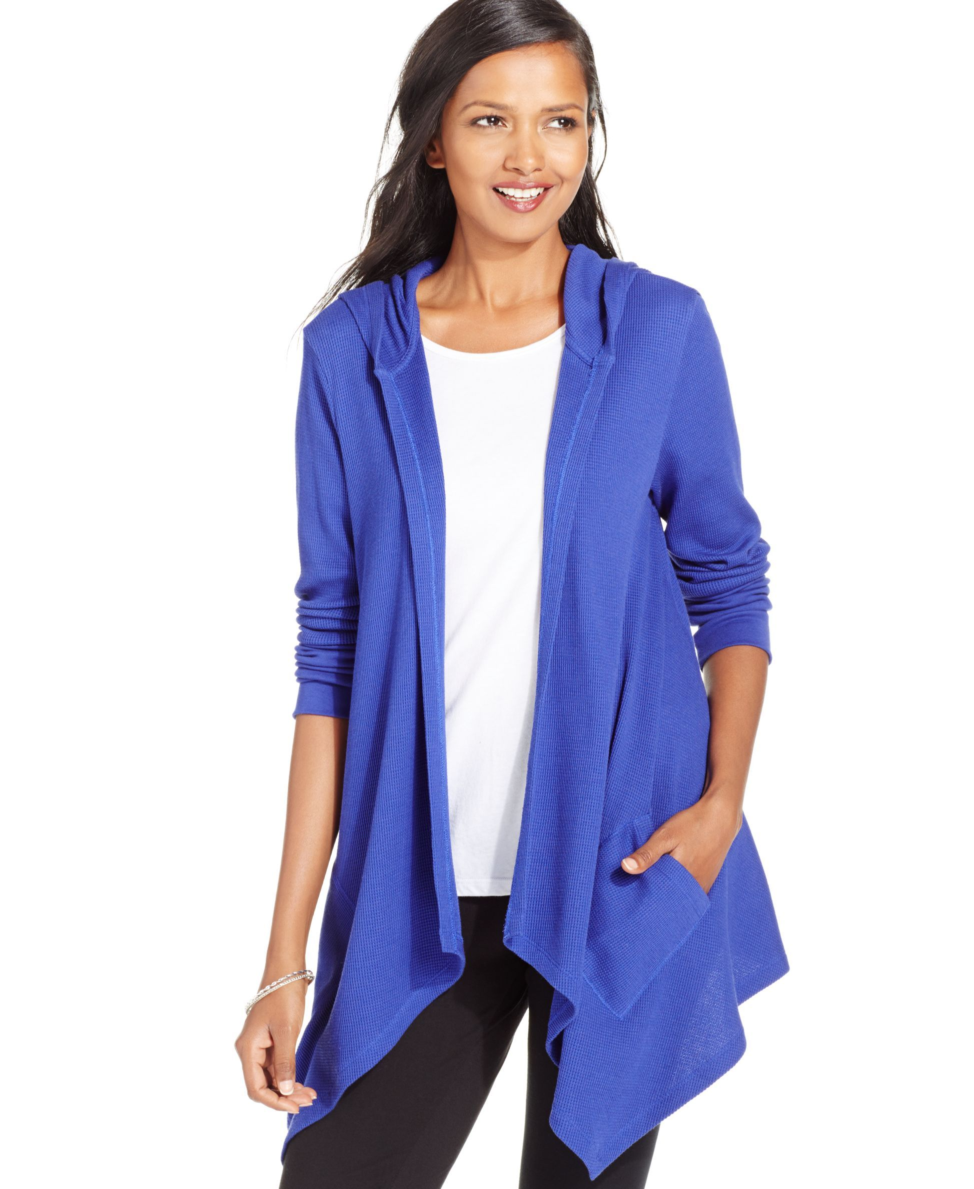 Style&co. Sport Hooded Cascade Cardigan, Only at Macy's | Products ...