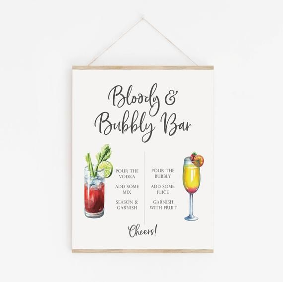 Bloody and Bubbly Bar Sign  Bloody Mary Bar  Mimosa Bar Sign | Etsy