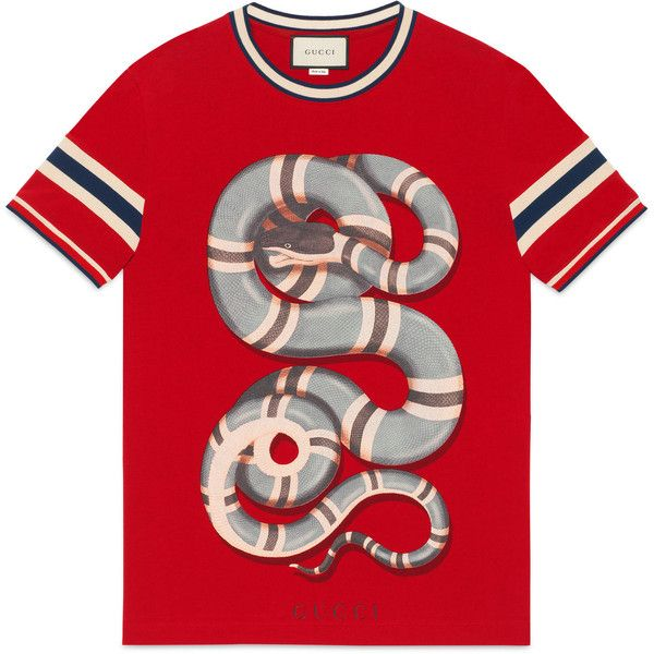 Gucci Cotton T-Shirt With Snake (3.035 DKK) ❤ liked on Polyvore featuring men's fashion, men's clothing, men's shirts, men's t-shirts, men, ready to wear, tshirts & polos, mens cotton shirts, mens cotton t shirts and mens polo shirts