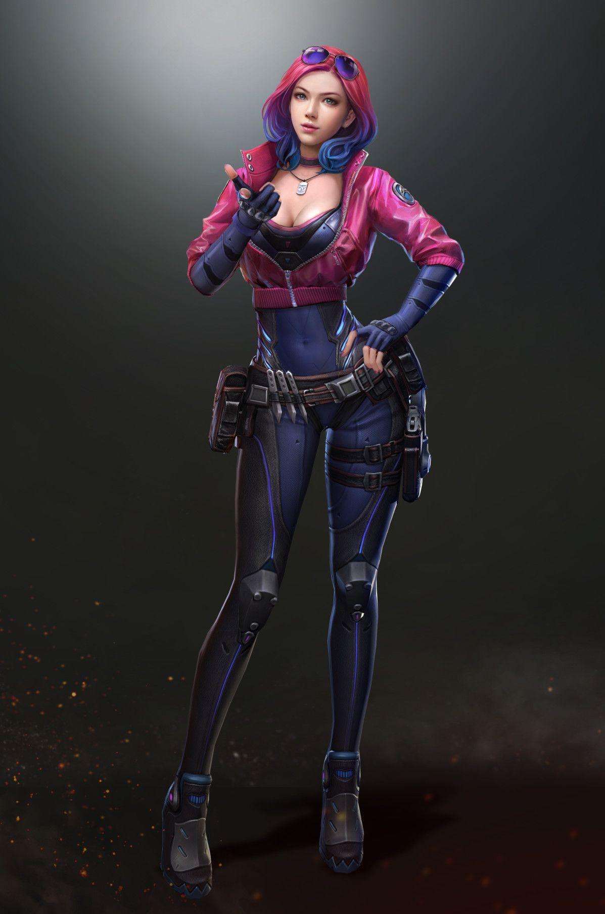 ArtStation 全民突击 wefire 小师妹 人物宣传, tian zi Cyberpunk