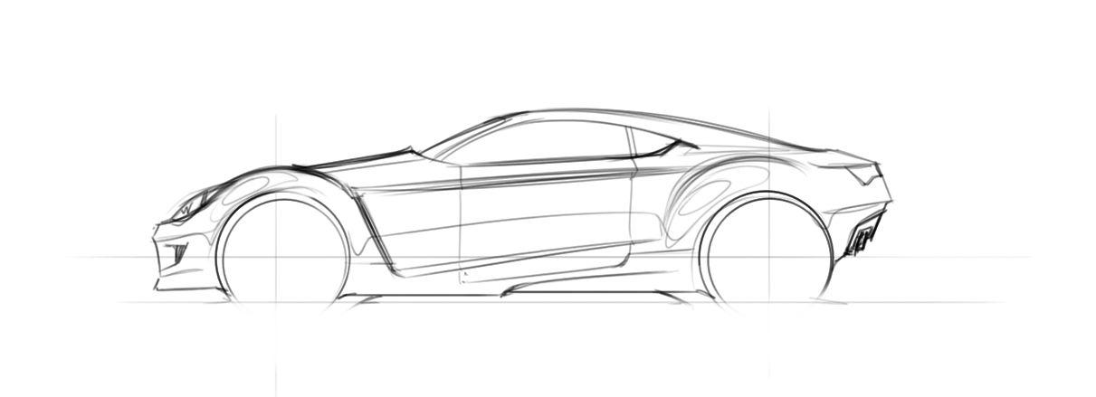 Side View Simple Car Drawing Car Sketch Car Drawings