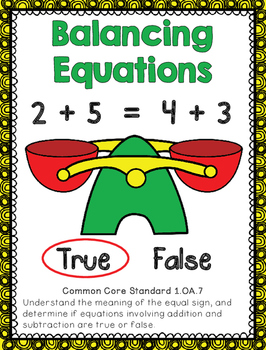 This is great practice for students learning how to determine whether an equation is true or false.  Students have access to a variety of balancing equations math problems increasing in difficulty from single numbers on both sides to mixed addition/subtraction on both sides.