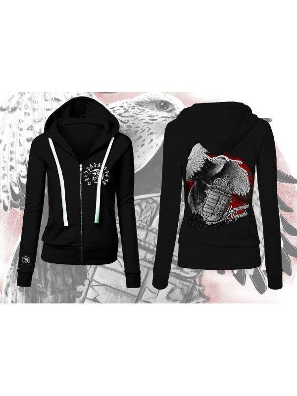 f62d40cd51 Sólyom címerrel - NŐI cipzáras pulóver | Products | Hoodies, Sweaters